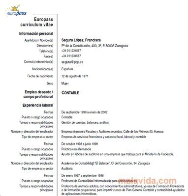 curriculum vitae europeo europass per pc gratis