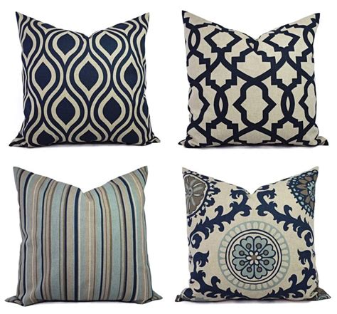 decorative pillow blue  beige decorative pillow