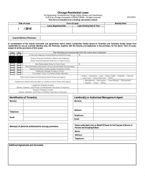 sample lease renewal forms   ms word