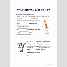 What Do You Like To Do? Worksheet  Free Esl Printable Worksheets Made By Teachers