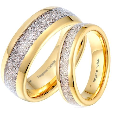 his and hers matching gold tone tungsten wedding couple rings meteorite inlay