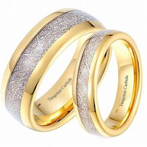 His and hers matching tungsten meteorite wedding couple for Gold engagement and wedding rings