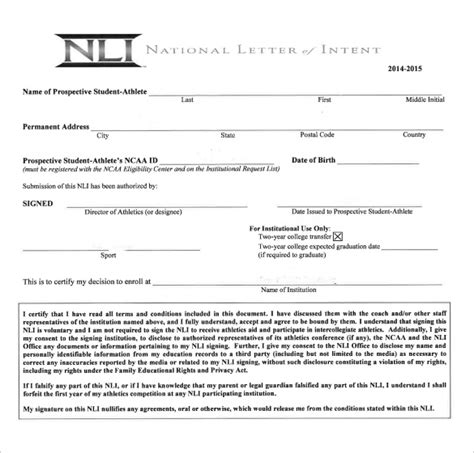 national letter  intent templates  sample