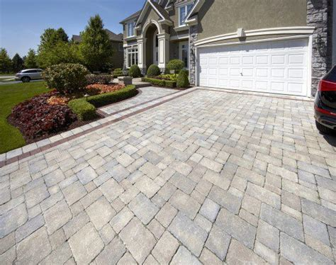 Driveway Entrance With Brussels Block Paver And Brussels
