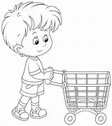 Shopping Cart Trolley Coloring Clip Boy Pages Basket Printable Getcolorings Colori sketch template
