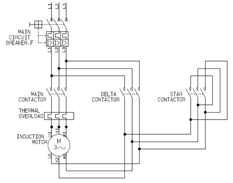power circuit of a delta or wye delta electric motor