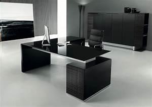 Bureau But Noir : modi bureau de direction 200 cm avec retour et caisson verre noir ~ Teatrodelosmanantiales.com Idées de Décoration