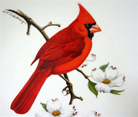 Avon Red Cardinal Collector Plate Dogwood 1974 Gold American
