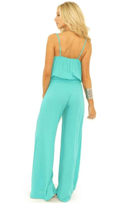 turquoise jumpsuit elan crinkled blousan jumpsuit from by posh
