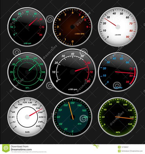 Speedometer And Rpm Gauges Stock Vector. Image Of