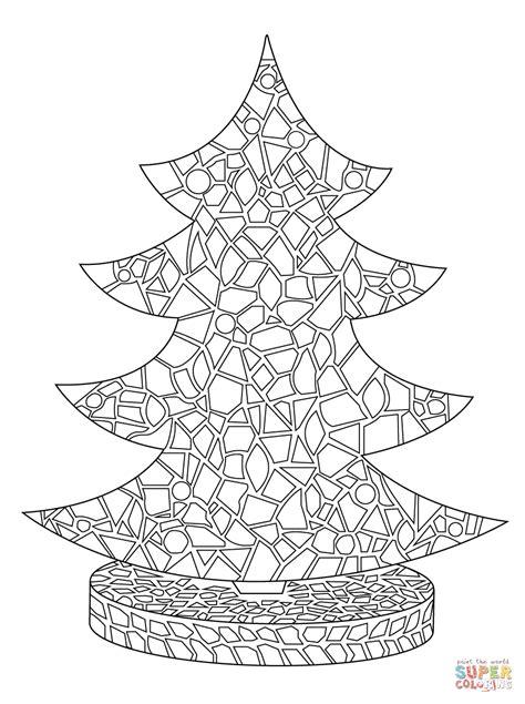 christmas tree mosaic coloring page  printable