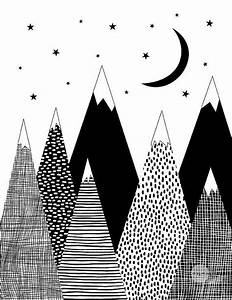 Mountain Print Kids Room Decor Black and White by ...