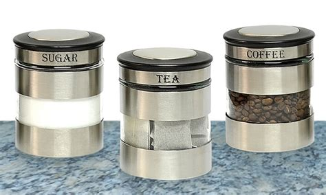 Stainless Steel Kitchen Canister by Stainless Steel Canister Sets Groupon Goods