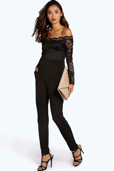 boohoo jumpsuits emily scallop lace the shoulder jumpsuit at boohoo com