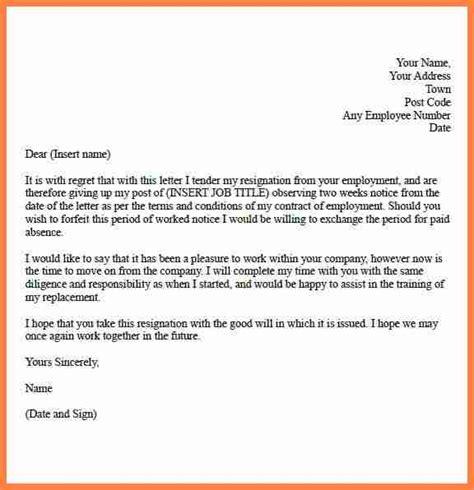 weeks notice letter template notice letter