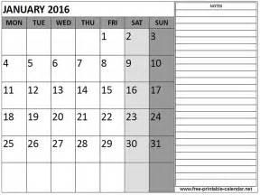 January 2016 Calendar Printable Free