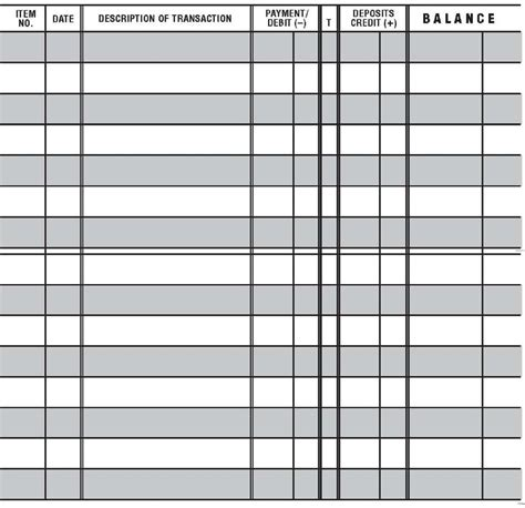 free check register template 5 printable check register templates formats exles in word excel