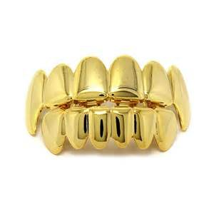 14K Gold Plated Hip Hop Jewelry vampire fang Teeth grillz top and bottom a set