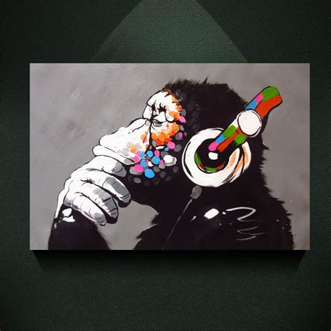 2018 modern canvas painting banksy street art print dj monkey chimp with headset painting canvas