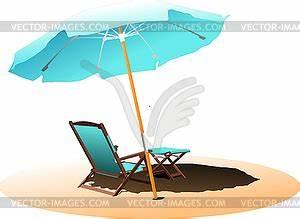 stuhl und sonnenschirm am strand clipart design With französischer balkon mit sonnenschirm clipart