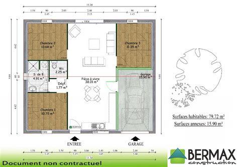 plan maison plain pied 3 chambres avec garage plan maison plain pied 3 chambres avec garage