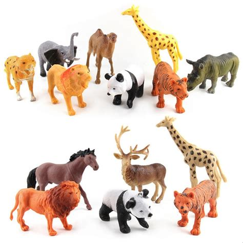 simulated zoo animals toy panda giraffe horse lion tiger