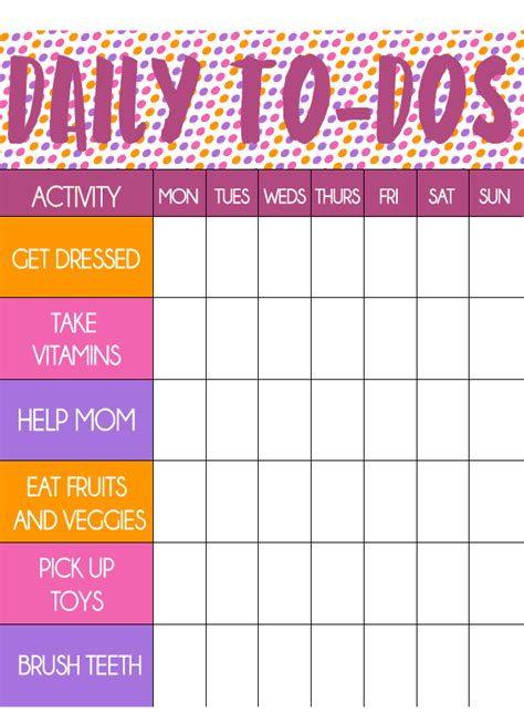 printable toddler chore chart  stickers play
