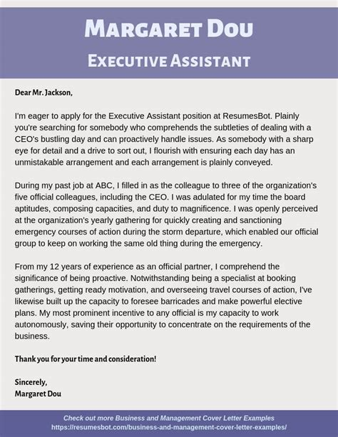 executive assistant cover letter samples templates