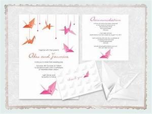 origami paper crane wedding invitation suite printable With origami wedding invitations from paper bird design