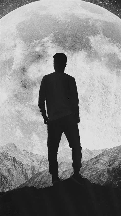 wallpaper moon silhouette  man mountains hd