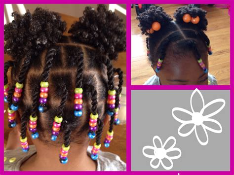 Natural Hair--protective Style--twists, Beads And Puffs