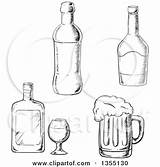 Liquor Beer Bottles Clipart Mug Vector Illustration Bottle Sketched Whisky Royalty Tradition Sm Corkscrew Coloring Pages Template Sketch sketch template