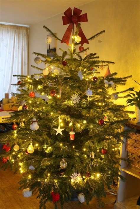 picture of real christmas trees decorated a real tree with handmade decorations