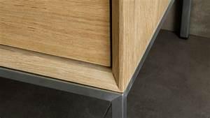 Bloc Porte Chene Massif : meuble tv en ch ne massif 2 tiroirs 1 porte rabattable kubico ~ Melissatoandfro.com Idées de Décoration