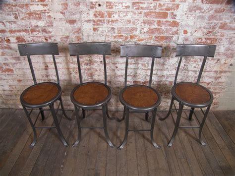 set of 2 vintage industrial wood and metal chairs at 1stdibs