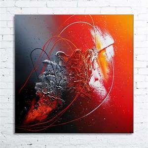 Tableau Peinture Moderne : hyades tableau abstrait contemporain peinture acrylique en relief noir rouge gris argent blanc ~ Teatrodelosmanantiales.com Idées de Décoration