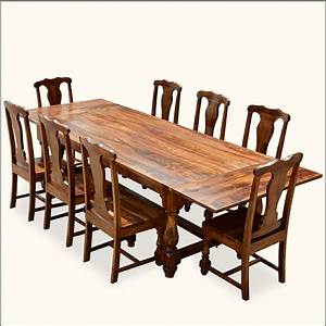 Rustic Solid Wood Early American Dining Table Chair Set