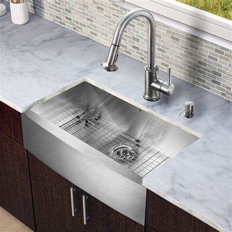 White Kitchen Sink With Stainless Steel Faucet by Vigo All In One 33 Inch Farmhouse Stainless Steel Kitchen