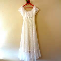 Metal Curtain Tie Back by Vintage Lace Flower Child Hippie Wedding Dress