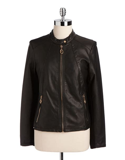 ivanka trump faux leather moto jacket in black lyst