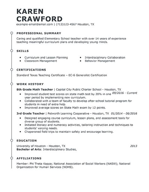 Resumes For Teachers by Best Resume Exle Livecareer