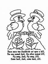 Coloring Nursery Rhymes Rhyme Blackbirds Poems Blackbird Template Poetry Songs Sheets Colors sketch template