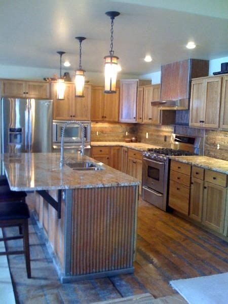 """Kitchen island with rustic 1 1/4"""" corrugated metal"""