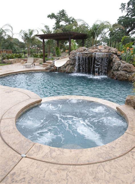 pool   waterfall   luxury backyard stock image image