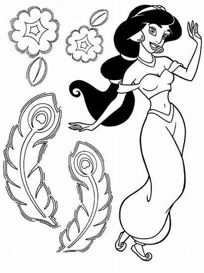 Coloring Disney Jasmine Princess Pages Sheets Aladdin