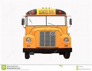 Yellow School Bus Isolated On White - Front View Stock ...