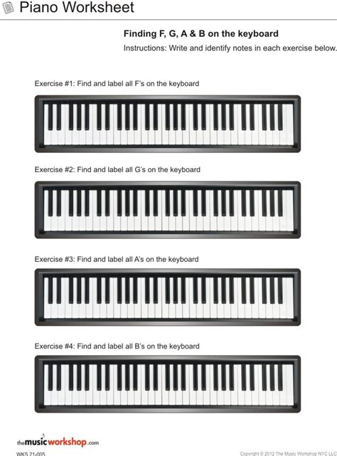 piano worksheet finding f g a and b on the piano the