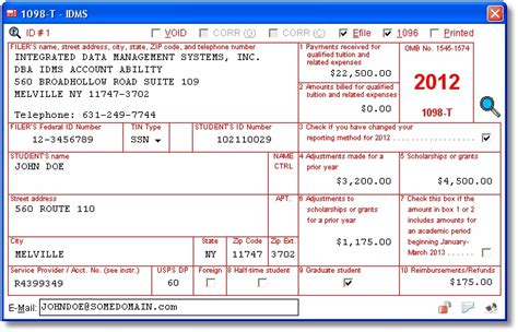 user interface tuition statement data  entered