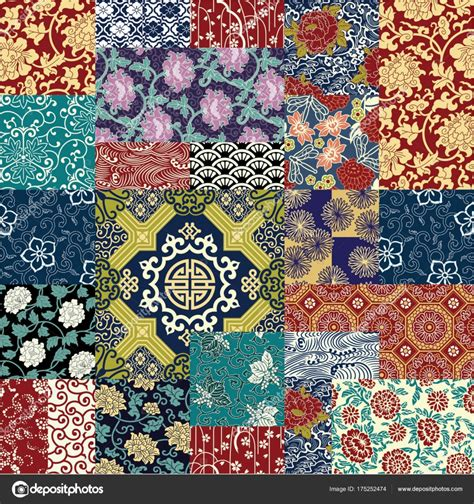 chinese style fabric patchwork wallpaper abstract floral