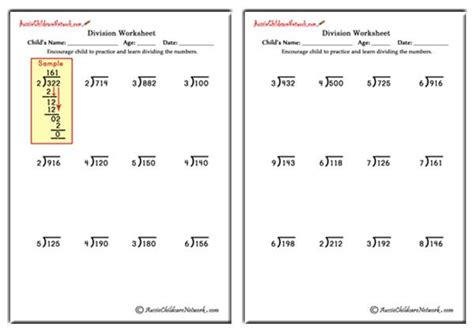 long division worksheets    remainders